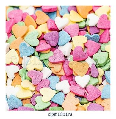 Посыпка Сердца разноцветные. Вес: 50 гр. - фото 8254
