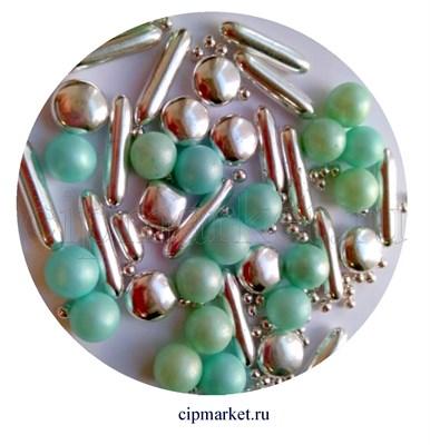 Посыпка-драже сахарное BIAMIX Микс Голубо-бирюзовый жемчуг с серебром. Вес: 30 гр, Греция - фото 8270
