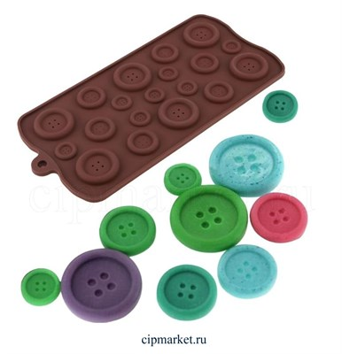 Форма для шоколада Пуговицы 19 ячеек. Размер: 22х10,5 см. - фото 8314