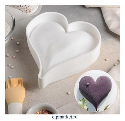 Форма силиконовая для муссовых тортов и выпечки Сердце удлиненное. Размер: 17х16х6 см - фото 8329