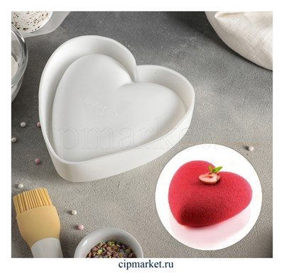 Форма силиконовая для муссовых тортов и выпечки Сердце. Размер: 13х10 см - фото 8338
