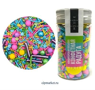 Посыпка сахарная ассорти MIXIE Конфетная радуга. Вес: 50 гр, Россия. - фото 8362