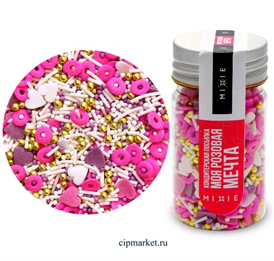 Посыпка сахарная ассорти MIXIE Моя розовая мечта. Вес: 50 гр, Россия. - фото 8370