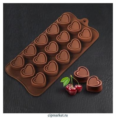 Форма для шоколада и конфет Сладкое сердце. Размер: 21,5*10,5 см. - фото 8403