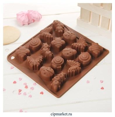 Форма для шоколада и конфет Насекомые. Размер: 18*17 см. - фото 8407