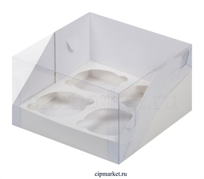 Коробка на 4 капкейка Премиум с пластиковой крышкой РК Белая. Размер:16 х16 х10 см - фото 8537