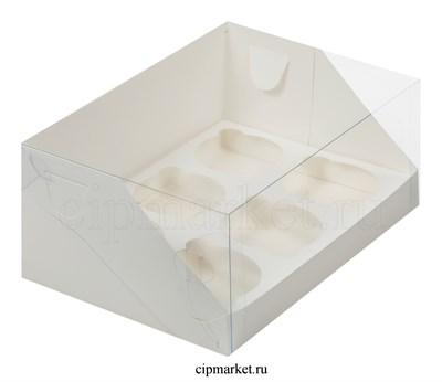 Коробка на 6 капкейков с пластиковой крышкой РК Белая. Размер: 23,5х16х10 см - фото 8539