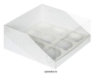 Коробка на 9 капкейков с пластиковой крышкой РК Белая. Размер:23.5 х23.5 х10 см - фото 8543