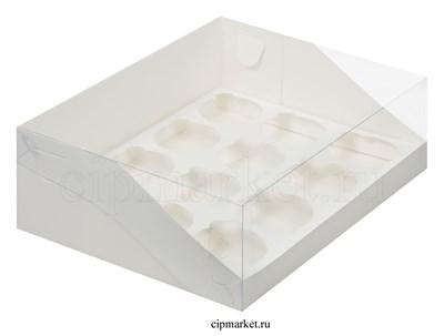 Коробка на 12 капкейков с пластиковой крышкой РК Белая. Размер: 31 х23.5 х10 см - фото 8545