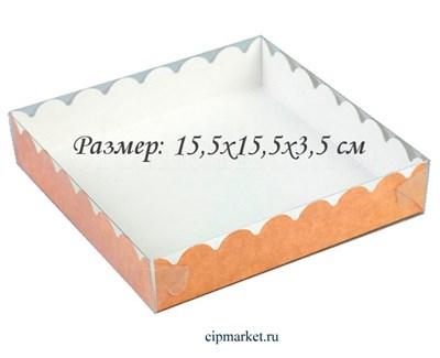 Коробка для пряников с прозрачной крышкой РК Крафт. Размер:15,5 х15,5 х3,5 см - фото 8551