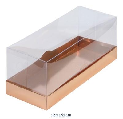 Коробка для рулета с окном и пластиковой крышкой Премиум РК Золото. Размер: 30 х 12 х 12 см - фото 8557