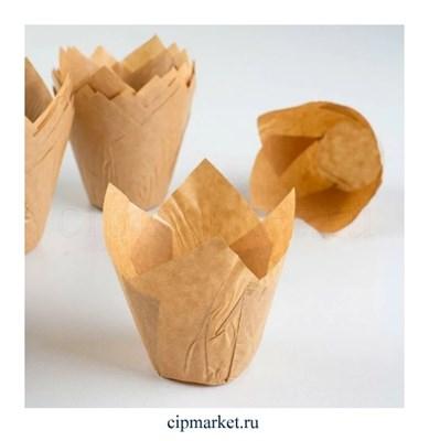 Формы для выпечки тюльпан Крафт, набор 10 шт. Диаметр дна: 5 см, высота: 8 см - фото 8589