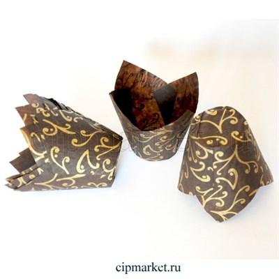 Формы для выпечки тюльпан Золотая лилия, набор 10 шт. Диаметр дна: 5 см,высота: 8 см - фото 8591