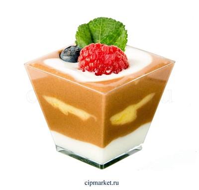 Креманка Пагода средняя квадратная пластиковая прозрачная для десертов 200 мл. Россия - фото 8644