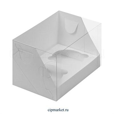 Коробка на 2 капкейка с пластиковой крышкой РК Белая. Размер: 16х10х10 см - фото 8709
