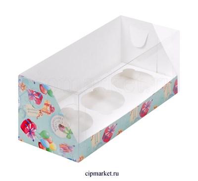 Коробка на 3 капкейка с пластиковой крышкой Сладких удовольствий РК Мятная . Размер: 24х10х10 см - фото 8711