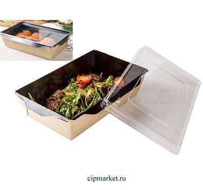 Салатник контейнер для десертов с прозрачной крышкой. Размер:14,5х9,5х4,5 см, 0,4 л. - фото 8753
