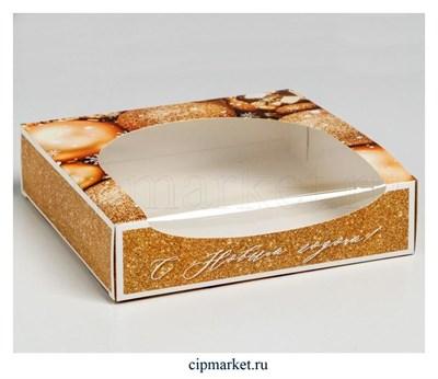Коробка для пончиков с окном С Новым годом (Шары золото). Размер: 20х20х5 см - фото 8761