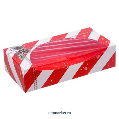 Коробка для сладостей с окном Новогодняя (Шишки). Размер: 20 х 10 х 5 см - фото 8763