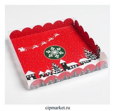 Коробка для пряников и печенья с прозрачной крышкой Вкусности (Снежинка, сани). Размер: 21*21*3 см - фото 8784