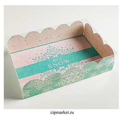 Коробочка для зефира и пирожных с прозрачной крышкой Снежинки (Голубая). Размер: 20 х 30 х 8 см - фото 8792