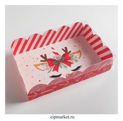 Коробочка для зефира и пирожных с прозрачной крышкой Подарок (Бантик, глазки). Размер: 20 х 30 х 8 см - фото 8794