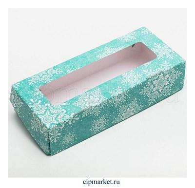 Коробочка для пирожных и пряников с окном Снежинки голубые. Размер: 17 х 7 х 4 см - фото 8799