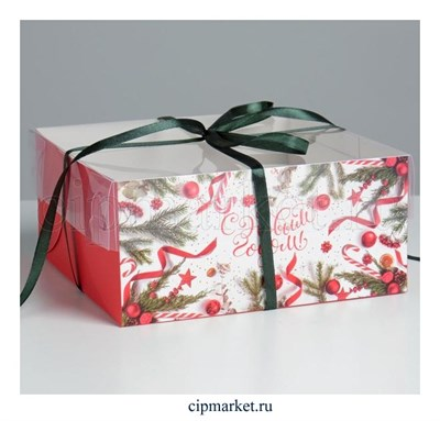 Коробка на 4 капкейка с прозрачной крышкой Ягоды (Новый год). Размер: 16 х16 х7,5 см - фото 8819