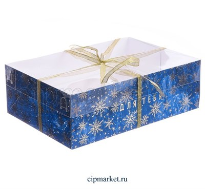 Коробка на 6 капкейков с прозрачной крышкой Снежинки на синем (Новый год). Размер: 23 х16 х7,5 см - фото 8821