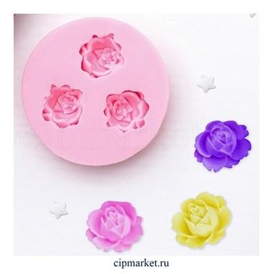 Молд 3 розы мини. Размер: 5 см* 1 см - фото 8841