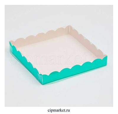 Коробка для пряников с прозрачной крышкой Мятная. Размер: 20 х20 х3 см - фото 8935