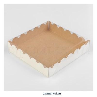Коробка для пряников с прозрачной крышкой Белая/Крафт. Размер: 15 х15 х3 см - фото 8939