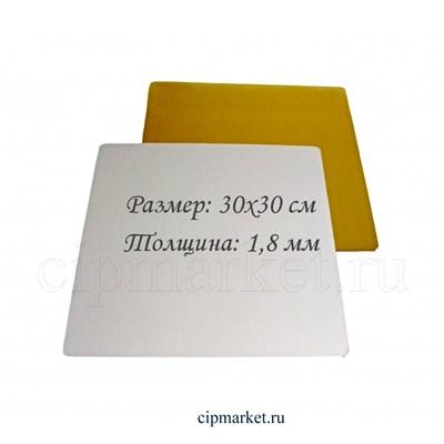 Подложка 30*30 см золото-жемчуг, усиленная, 1,8 мм (двусторонняя). Картон ламинированный - фото 8941