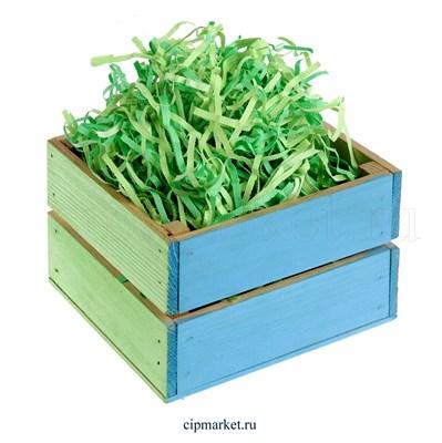 Наполнитель бумажный Зеленый микс. Вес: 50 гр - фото 8967