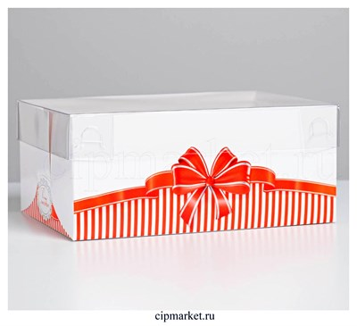 Коробка на 6 капкейков с прозрачной крышкой С любовью (Красный бант). Размер: 23 х16 х10 см - фото 8969