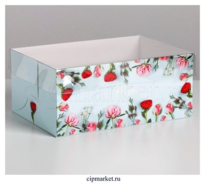 Коробка на 6 капкейков с прозрачной крышкой Present (Розы). Размер: 23 х16 х10 см - фото 8971