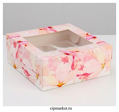 Коробка на 9 капкейков с окном Цветы. Размер: 25 х 25 х10 см - фото 9063