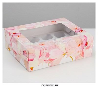 Коробка на 12 капкейков с окном Цветы. Размер: 32,5 х 25,5 х10 см - фото 9066