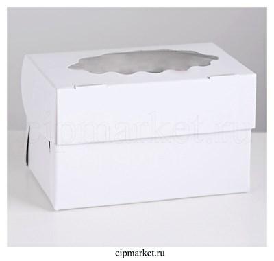 Коробка на 2 капкейка с окном Белая. Размер: 16х10х10 см - фото 9070