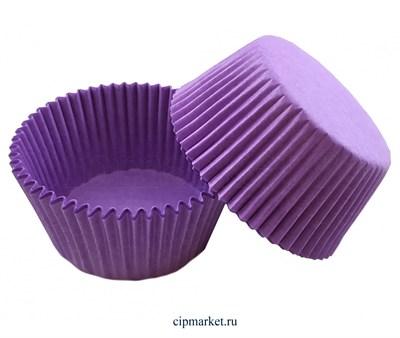 Формы бумажные Фиолетовые, набор из 50 шт. Диаметр дна: 5 см, высота бортика: 3 см - фото 9147