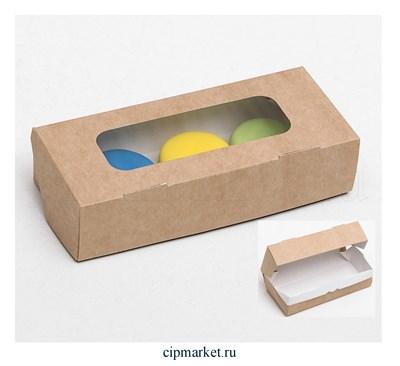 Коробка для пряников с прозрачной крышкой Крафт. Размер: 17 х7 х4 см - фото 9155