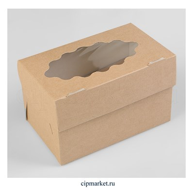 Коробка на 2 капкейка с окном Крафт. Размер: 16х10х10 см - фото 9157