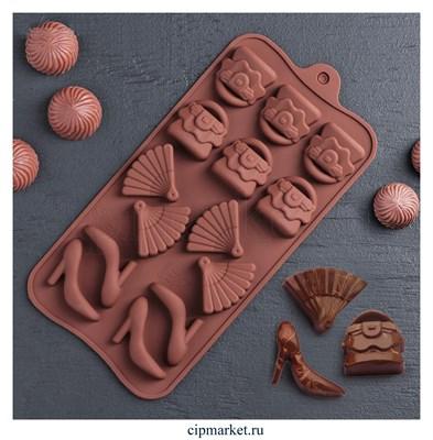 Форма для шоколада и конфет Дамский набор. Размер: 21×11×1,5 см, 14 ячеек - фото 9161