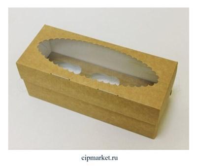 Коробка на 3 капкейка с окном ЮП Крафт Ромашка. Размер: 25х10х10 см - фото 9171