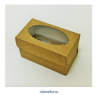 Коробка на 2 капкейка с окном ЮП Крафт Ромашка. Размер: 17х10х10 см - фото 9175
