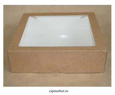 Коробка для пряников с окном Крафт. Размер: 20х20х4 см - фото 9181