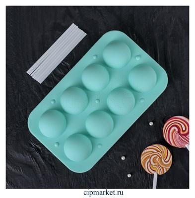 Форма для леденцов и мороженого Кейк-попс. Размер: 19,5×11,7×3,5 см, 8 ячеек (d=3,9 см), 2 части, с палочками - фото 9185