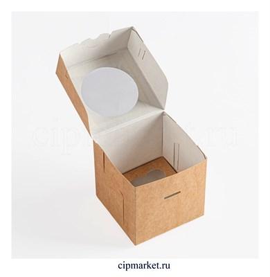 Коробка на 1 капкейк с окном БП Крафт, картон. Размер: 10х10х10 см - фото 9190