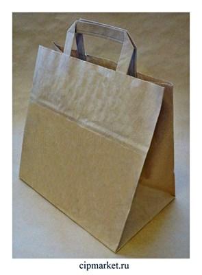 Пакет упаковочный крафт БП плоские ручки. Размер: 320х200х370 мм - фото 9194