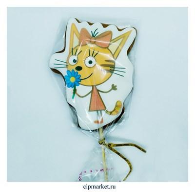 Пряник медовый Топпер Три кота Карамелька. Размер: 11 см. Вес: 60 гр. Лицензия - фото 9254